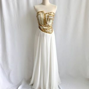 Terani Couture Beaded Sequence Bustier Gown Small